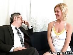 When Shelly spends a little extra time with her teacher she soon realises what a tricky old bastard he really is! It`s not long before he`s got his cock out and she`s stripping off for a nice fuck